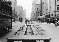 Outdoor Shot Looking East Down Market St. From Fourth St., Showing Track Construction | May 23, 1918
