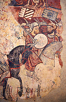 Gothic fresco mural painting &quot;THE CONQUEST OF MAJORCA&quot; 1285-1290. National Museum of Catalan Art, Barcelona, Spain, inv no: 071447-CJT. <br /> The mural paintings of the Conquest of Majorca come from the former ancestral home of the Caldes family in Carrer Montcada in Barcelona, a building later known as Palau Aguilar. Discovered and removed in 1961, these paintings are one of the most important examples of early or Linear Gothic Catalan painting. This magnificent example of painting on historical subject matter narrates the conquest of the island of Majorca by James I the Conqueror in 1229. Like a painted chronicle, the episodes follow the detailed narrative of Catalan medieval accounts such as King James I's 'Llibre dels Feits' and Bernat Desclot's 'Cr&ograve;nica'.