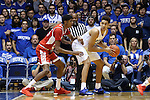 30 October 2015: Duke's Chase Jeter (right) backs in against Florida Southern's Jarel Spellman (left). The Duke University Blue Devils hosted the Florida Southern College Moccasins at Cameron Indoor Stadium in Durham, North Carolina in a 2015-16 NCAA Men's Basketball Exhibition game. Duke won the game 112-68.
