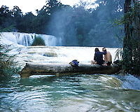 """A couple enjoying a romantic moment at the Agua Azul waterfalls in Chiapas, part of the landscapes of tourism series. Exhibited in the Salon Malafama as part of the """"Vacaciones"""" series, Mexico City July, 2006"""