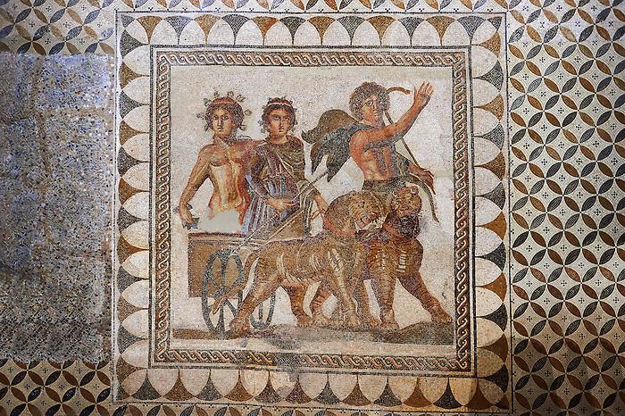 Mosaico de Baco a 3rd Century AD Roman Mosaic from Ecija. Archaeological Museum, Seville, Spain.