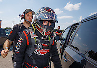 Sep 5, 2016; Clermont, IN, USA; Crew member with NHRA top alcohol funny car driver Jonnie Lindberg during the US Nationals at Lucas Oil Raceway. Mandatory Credit: Mark J. Rebilas-USA TODAY Sports