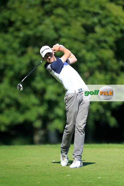 Nathan McCann (Lurgan) on the 9th tee during Round 2 of the Ulster Boys' Amateur Open Championship in Clandeboye Golf Club on Wednesday 9th July 2014.<br /> Picture:  Thos Caffrey / www.golffile.ie