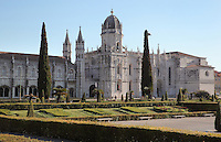 Jeronimos Monastery or Hieronymites Monastery, a monastery of the Order of St Jerome, built in the 16th century in Late Gothic Manueline style, Belem, Lisbon, Portugal. The monastic complex includes the church with portal by Joao de Castilho (right), cloisters (left), and Chapel of St Jerome. The monastery is listed as a UNESCO World Heritage Site. Picture by Manuel Cohen