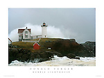 Enormous Wave crashes over Nubble Lighthouse- Patriot's Day Storm