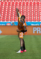 July 28, 2012: Houston Dynamo midfielder Boniek Garcia #27 stretches during the warm-up game between Toronto FC and the Houston Dynamo at BMO Field in Toronto, Ontario Canada..The Houston Dynamo won 2-0.