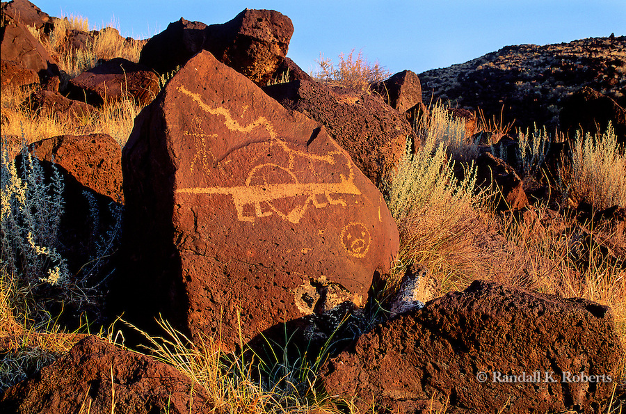 Mountain Lion petroglyph, Petroglyph National Monument, Albuquerque, New Mexico.