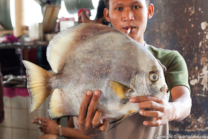 Man holding fish in the market, Sandakan, Sabah, Borneo
