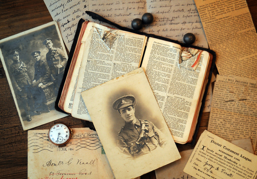 Collects and memorabiliar of Bombadier George Hever Vinall who made headlines in WW1 when a shrapnel bullet lodged itself in his bible. Photo by Clare Kendall.