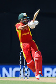 19.02.2015. Nelson, New Zealand.  Regis Chakabva from Zimbabwe gets hit on the helmet during the 2015 ICC Cricket World Cup match between Zimbabwe and United Arab Emirates. Saxton Oval, Nelson, New Zealand. Thursday 19 February 2015.