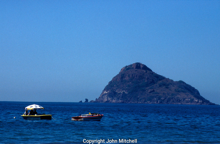 Boats with Isla de Chivos or Goat Island in background,  Mazatlan, Sinaloa, Mexico