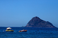 Boats with Isla de Chivos or Goat Island in background,  Mazatlan, Sinaloa, Mexico