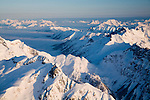 Aerial view over North Cascades National Park in winter.  Morning