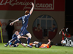 Ryan Dow felled in the box by Ross Tokely but no penalty for Dundee Utd from Willie Collum
