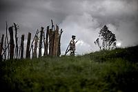 A CNDP (Congrès National pour la Défense du Peuple) soldier patrol the hills around General Nkunda's base in Kilolirwe, North Kivu, DRC, on Sunday, March. 9, 2008..
