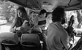 IRON MAIDEN - on the bus from Okecie Airport at the start of the World Slavery Tour in Warsaw Poland - August 1984.  Photo credit: George Bodnar Archive/IconicPix