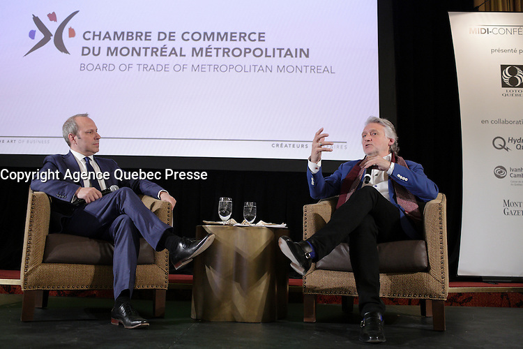 the commissioner for celebrations for the Society for the Celebrations of Montr&eacute;al's 375th Anniversary, Gilbert Rozon, present projects to be implemented for the festivities in 2017 that will generate major tourism and economic benefits for the city, Tuesday, April 26, 2016<br /> <br /> Photo : Pierre Roussel - Agence Quebec Presse<br /> <br /> <br /> <br /> <br /> <br /> <br /> <br /> <br /> .