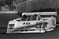 MIAMI, FL - MARCH 2: The BMW North America March/BMW is driven by John Andretti and Davy Jones during the Lowenbrau Grand Prix of Miami IMSA GTP race on the temporary street circuit in Bicentennial Park in Miami, Florida, on March 2, 1986.