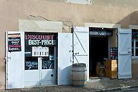 Discount wine merchants vigneron shop in rue Guadet Saint Emilion in the Bordeaux wine region of France