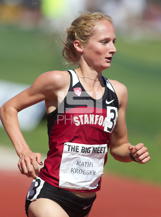 Stanford, CA., April 20, 2013,--Stanford's Kathy Kroeger runs in the 119 Big Meet at Cobb Track and Angell Field at Stanford University.