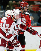David Valek (Harvard - 22), George Hughes (St. Lawrence - 15) - The St. Lawrence University Saints defeated the Harvard University Crimson 3-2 on Friday, November 20, 2009, at the Bright Hockey Center in Cambridge, Massachusetts.