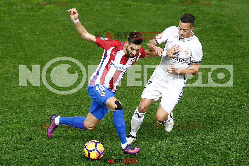 Atletico de Madrid's Yannick Ferreira Carrasco (l) and Real Madrid's Lucas Vazquez during La Liga match. November 19,2016. (ALTERPHOTOS/Acero) /NORTEPHOTO.COM