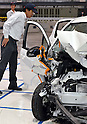 "July 21st, 2011, Susonosi, Japan - A Toyota VITZ is badly damaged after a head-on collision with a Toyota Crown at the speed of 55km/h (about 34 miles/h) in a demonstration at Toyotas Higashi-Fuji Technical Center on the foot of Mt. Fuji, some 92km (about 57 miles) southwest of Tokyo, on Thursday, July 21, 2011. Toyota showed to reporters technologies aimed at increasing safety for pedestrians and elderly drivers, as part of its initiatives to eliminate traffic casualties.  The technologies include a Pre-Collision System with collision-avoidance assist, glare-preventing adaptive driving beams and a pop-up hood for lessening pedestrian injury. In the PCS, Toyota uses cameras and a super sensitive radar called ""millimeter-wave,"" both installed in the front of the vehicle, to detect possible crashes such as a pedestrian crossing the road. Then the vehicle calculates how braking and steering must be applied to avoid a crash. (Photo by Natsuki Sakai/AFLO) [3615] -mis-"