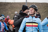 Ellen Van Loy (BEL/Telenet-Fidea) gets a last pep talk by CX legend (and also her team manager) Sven Nys before the start<br /> <br /> Women's Race<br /> UCI 2017 Cyclocross World Championships<br /> <br /> january 2017, Bieles/Luxemburg