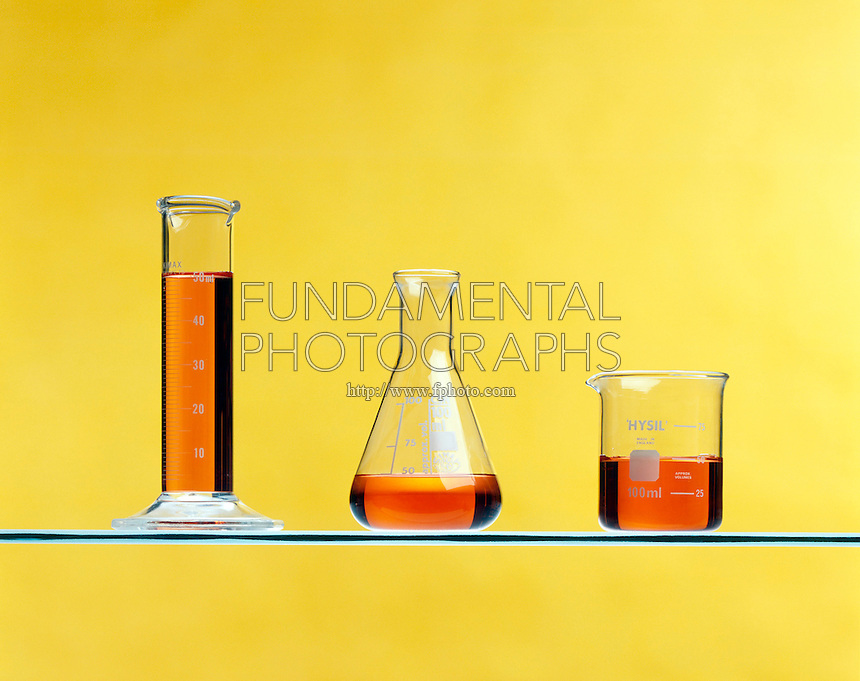 SAME VOLUME OF LIQUID IN DIFFERENT CONTAINERS<br /> Liquid Has Definite Volume But Indefinite Shape<br /> A single sample of liquid poured into 3 different containers, a graduated cylinder, a beaker and an erlenmeyer flask will keep its same volume while adapting to the shape of the container.