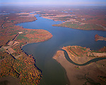 Fall colors in aerial view of the Chickahominy River looking north towards the York River in the far distance.  Charles City County Virginia is to the left and James City County to the right of the river.  Jamestown Colony leader John Smith was captured by the Powhatan Indians (Pocahontas legend) on the upper reaches of this River. Image created Nov. 1998.