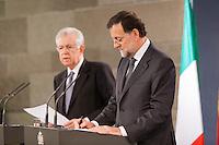 Mario Monti and Mariano Rajoy at press conference