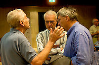 Roma 8 Settembre 2013<br /> Assemblea  in difesa della Costituzione.<br />  Stefano Rodot&agrave;, Paolo Flores d'Arcais, direttore di Micromega, Maurizio Landini, segretario generale Fiom-Cgil