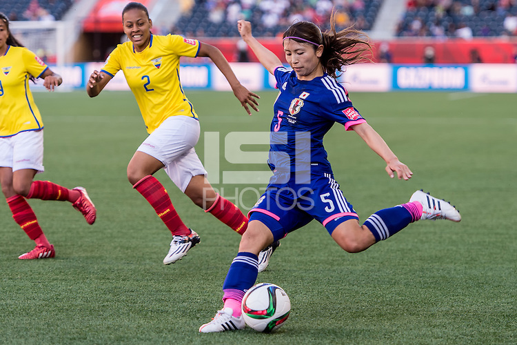 WINNIPEG, MANITOBA, CANADA - June 16, 2015: The Women's World Cup, Ecuador vs Japan match at the Winnipeg Stadium. Final score; Japan 1, Ecuador 0.