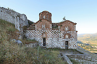 Holy Trinity Church or Kisha e Shen Triadhes, 13th century church just below the inner fortification of the citadel of Berat Castle or Kalaja e Beratit, in Berat, South-Central Albania, capital of the District of Berat and the County of Berat. The church contains important frescoes of a Byzantine influence. Picture by Manuel Cohen