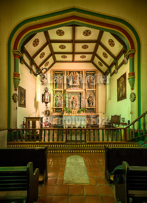 Interior and main altar, Mission San Gabriel Arc&aacute;ngel, forth of the 21 California Missions and founded by Father Junipero Serra, September 8, 1771.<br /> In the floor at the bottom of the photo is a grave marker commemorating the Franciscan Friers who are buried within the church.