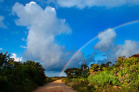 Hopkins, Stann Creek, Belize, April 2012. Rainbow on the Hopkins road after the rain. Hopkins is a small but vibrant Garifuna community of approximately 1,000 villagers. The people live mostly by farming and fishing, and more recently many have found work in the growing tourist industry. The residents are known for their friendliness and genuine hospitality, and welcome visitors to their village. Hopkins has a selection of gift shops, restaurants and small bars. Photo by Frits Meyst/Adventure4ever.com