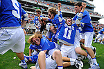 27 May 2013: The Duke Blue Devils celebrate their victory  of the NCAA Division I Men's Lacrosse Championship at Lincoln Financial Field in Philadelphia, Pennsylvania.