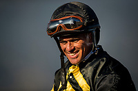 ARCADIA, CA - MARCH 11: Jockey, Javier Castellano smiles after winning the Kilroe Mile Stakes at Santa Anita Park  on March 11, 2017 in Arcadia, California. (Photo by Alex Evers/Eclipse Sportswire/Getty Images)