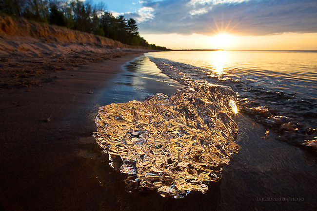 parting winter gift, last ice, ice crystal, lake superior, sunset