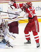 Isaac MacLeod (BC - 7), Robbie Baillargeon (BU - 19) - The Boston College Eagles defeated the visiting Boston University Terriers 6-4 (EN) on Friday, January 17, 2014, at Kelley Rink in Conte Forum in Chestnut Hill, Massachusetts.