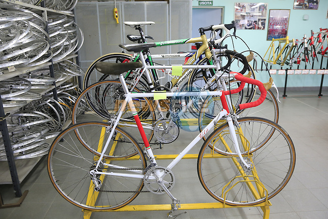 Pela bike for Faema team also made by Irio Tommasini on display in the showroom at the Tommasini factory based in Grosseto, Tuscany, Italy 6th March 2017.<br /> Picture: Eoin Clarke   Newsfile<br /> <br /> <br /> All photos usage must carry mandatory copyright credit (&copy; Newsfile   Eoin Clarke)