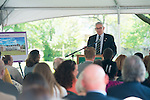 Dan Delawder (BSED, 1971) , Chairman of Park National Bank, speaks at a ground breaking ceremony for McCracken Hall on Thursday, May 7, 2015. Photo by Ben Siegel/ Ohio University