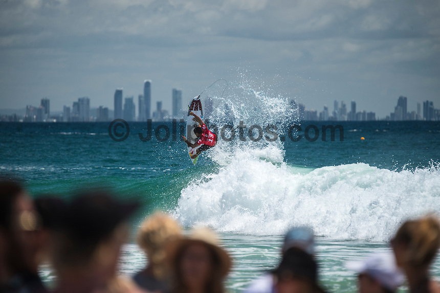 COOLANGATTA, Queensland/Australia (Saturday, February 28, 2015) Adriano de Souza (BRA). - The world's best surfers began competition  on Australia's Gold Coast today in the opening stop of the 2015 World Surf League (WSL)  Championship Tour (CT) season, the Quiksilver and Roxy Pro Gold Coast. The event got underway today at 8 a.m. local time with Men's Round 1 followed by Women's Round 1.<br /> <br /> Reigning WSL Champions and defending event winners Gabriel Medina (BRA) and Stephanie Gilmore (AUS) both competed in Round 1 today. Medina will face rookie compatriot Wiggolly Dantas (BRA) and event wildcard Dane Reynolds (USA), in Men's Round 1 Heat 6, while Gilmore faces a returned-to-form Silvana Lima (BRA) and Bronte Macaulay (AUS), (winner of the Trials) in Women's Round 1 Heat 3. Medina was successful in his heat with Gilmore lost to Lima and will surf in Round 2.<br /> -  Photo: joliphotos.com