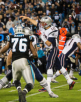 The Carolina Panthers play the New England Patriots at Bank of America Stadium in Charlotte North Carolina on Monday Night Football.  The Panthers defeated the Patriots 24-20.  New England Patriots quarterback Tom Brady (12)
