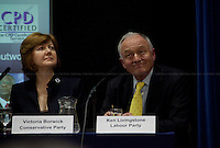 Victoria Borwick and Ken Livingston, British politicians - 2012<br /> <br /> London 23/04/2012. Today the &quot;Old Theatre&quot; at LSE (London School of Economics) was the arena of a pre-election mayoral debate organised by Fawcett Society. The discussion was focused on what the candidates will do for the 4 million women living in London if elected as new Mayor. The speakers included: Victoria Borwick (Assembly candidate for the Conservative Party) on behalf of Boris Johnson (Actual Mayor of London and candidate for the Conservative Party), Ken Livingston (Mayoral candidate for the Labour Party), Jenny Jones (Mayoral candidate for the Green Party), Brian Paddick (Mayoral candidate for the Liberal Democrats). Chair of the event was Ceri Goddard (CEO Fawcett Society).
