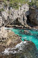 Aqua marine water and coastak caves, Negril, Jamaica