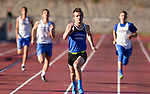 WINSTED, CT-041817JS10- Lewis Mills' Jake Lyga easily wins the 200M run during their meet with Gilbert and Litchfield Tuesday at Northwest Regional High School in Winsted. <br /> Jim Shannon Republican-American
