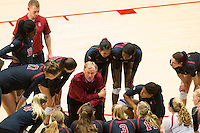 STANFORD, CA - September 9, 2016: Huddle at Maples Pavilion. The Purdue Boilermakers defeated the Stanford Cardinal 3 - 2.