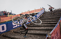 Lars van der Haar (NED/Telenet-Fidea) dismounting for the stairs<br /> <br /> Elite Men's Race<br /> UCI 2017 Cyclocross World Championships<br /> <br /> january 2017, Bieles/Luxemburg