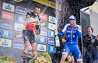 Champaign shower for race winner Philippe Gilbert (BEL/Quick Step floors) &amp; 3rd finisher, teammate Niki Terpstra (NED/Quick-Step Floors)<br /> <br /> 101th Ronde Van Vlaanderen 2017 (1.UWT)<br /> 1day race: Antwerp &rsaquo; Oudenaarde - BEL (260km)